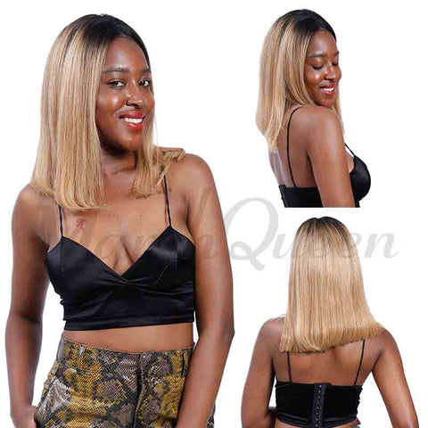 MarchQueen Blonde Ombre Bob Lace Front Wigs Straight Human Hair Wigs Full And Thick For Black Women 1b/27
