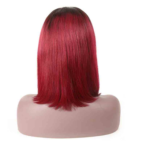MarchQueen Straight T1B/Bug Colored Human Hair Lace Front Wigs Short Bob Wig With Baby Hair For Sale