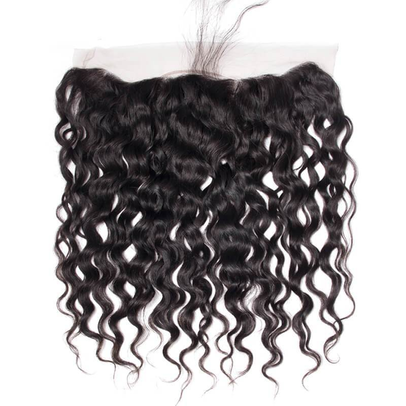 MarchQueen Virgin Water Wave Human Hair Ear To Ear Lace Frontal Closure 13x4 130% Density 1b#