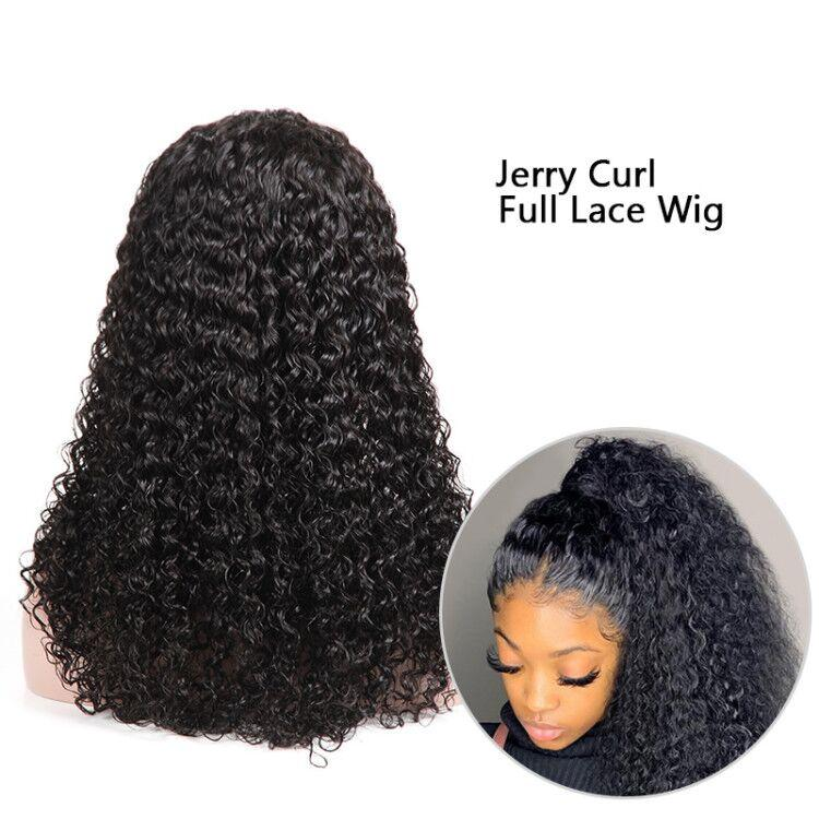 MarchQueen Glueless Full Lace Wigs Jerry Curl Cheap Human Hair Skin Melt Transparent Lace Wig With Natural Hairline