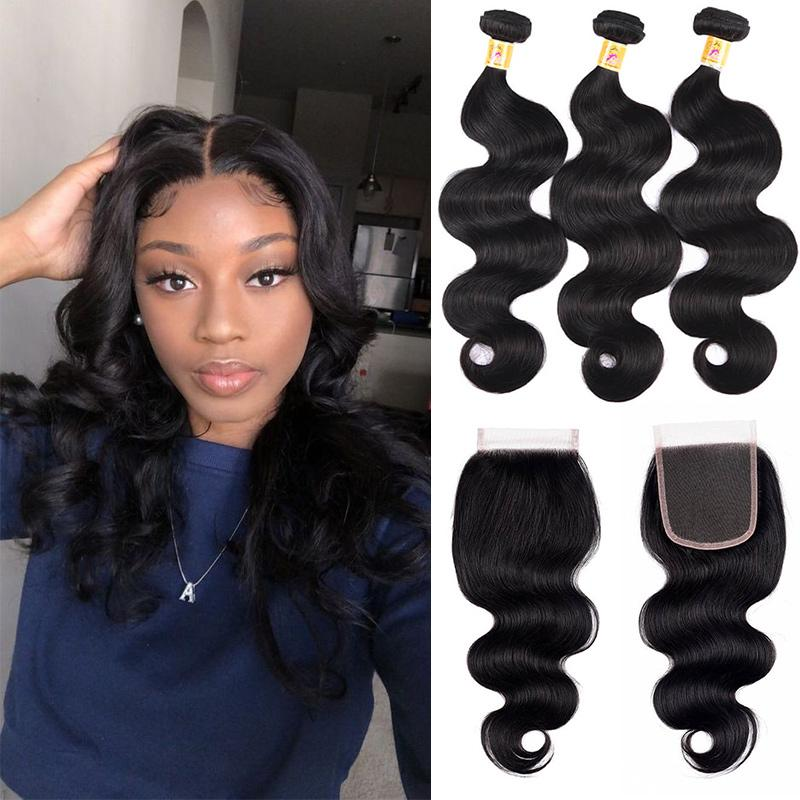 MarchQueen Peruvian Body Wave Lace Closure With 3pcs Human Hair Weave Bundles
