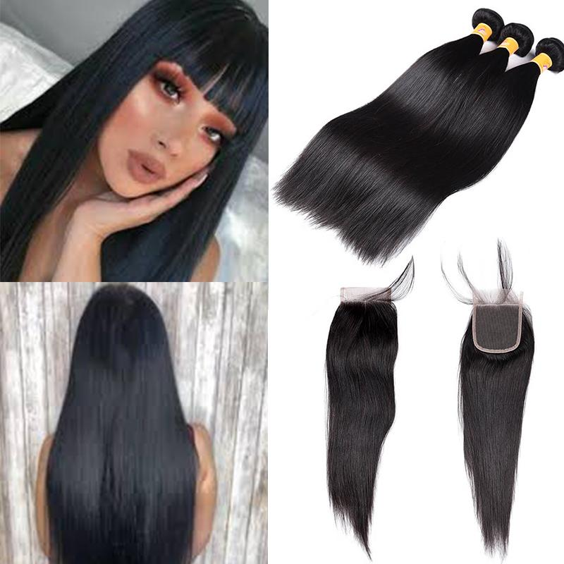 MarchQueen Peruvian Virgin Hair Straight Hair Weft 3 Bundles With Closure 1b#