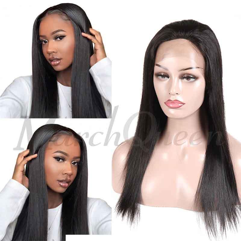MarchQueen Glueless 13x4 Lace Front Wigs Natural Straight Human Hair Long Wigs With Baby Hair On Sale
