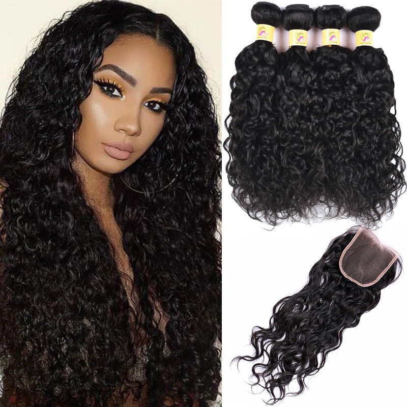 MarchQueen Peruvian Water Wave Virgin Hair 4 Bundles With Closure Human Hair 1b#