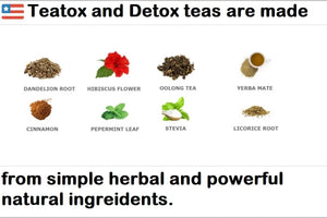 Teatox Detox natural herbal Teas, no artificial flavors, colors, or preservatives