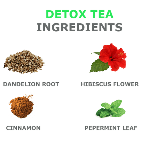 Detox Products  ingredients - Organic Dandelion Root, Peppermint Loose Leaf Tea, Organic Rosemary Leaf, Organic Senna Leaf, Organic Cinnamon Powder, Organic Ginger Root, Organic Hibiscus Flower Powder, Organic Rhubarb Root Powder, Organic Lemongrass Leaf, and Organic Grapefruit Peel.