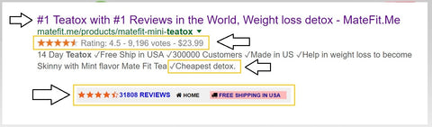 #1 Teatox with #1 Reviews in the World, Weight loss detox , MateFIt is the cheapest teatox available in the market, Some of the facts in price comparison of major brand teatox available in the market to get in to healthy life style,they are in USD*  Teatox Detox Metabolic Boost Pre Workout Assist Super Goji Cla 2000 Shaker Bottles
