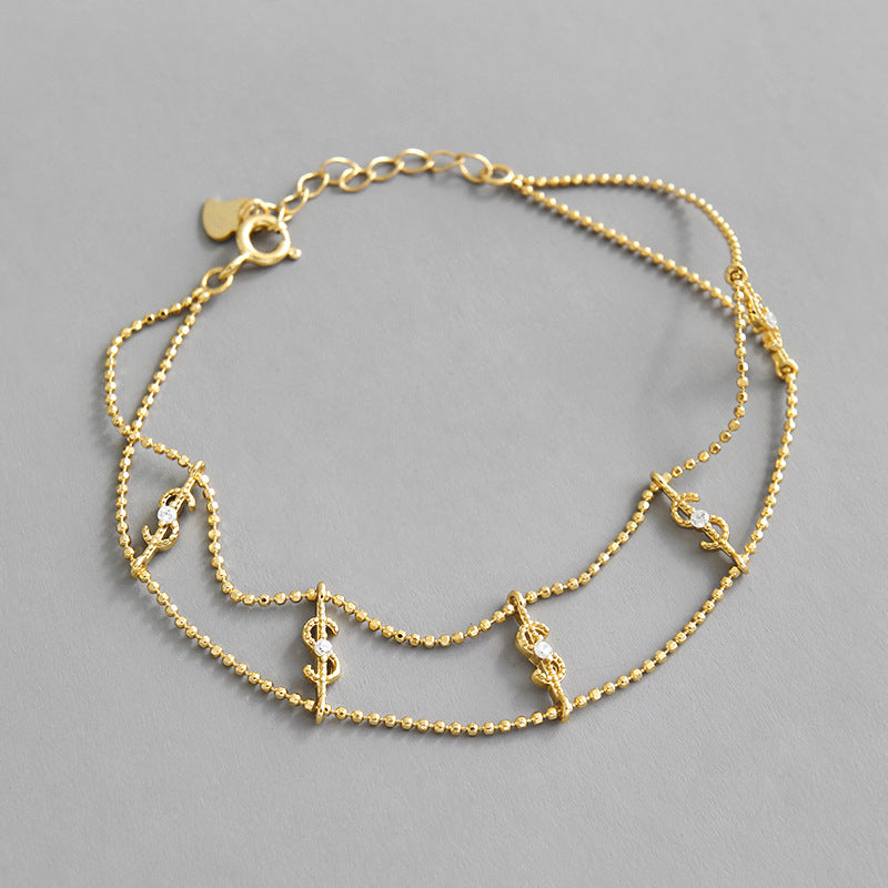 Hustler 24/7 - 18 K Gold Plated Sterling Silver Dollar Sign Bracelet