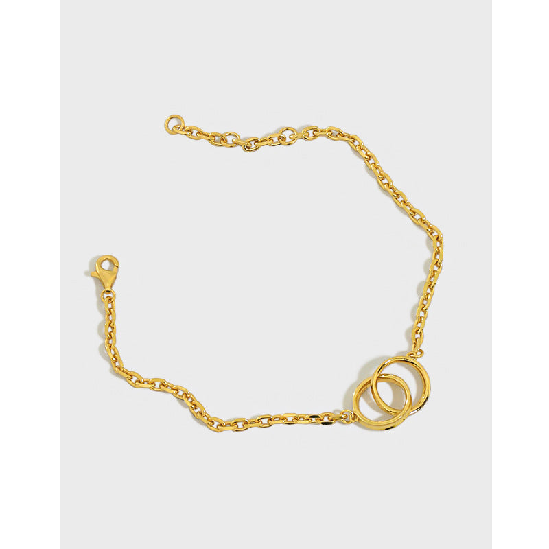 Double Circle - 18 K Gold Plated Sterling Silver Bracelet