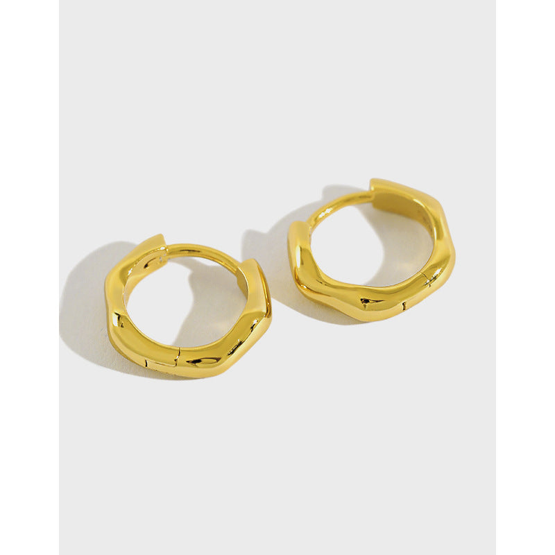 Imperfectly Prefect - 18 K Gold Plated Sterling Silver Huggie Earring