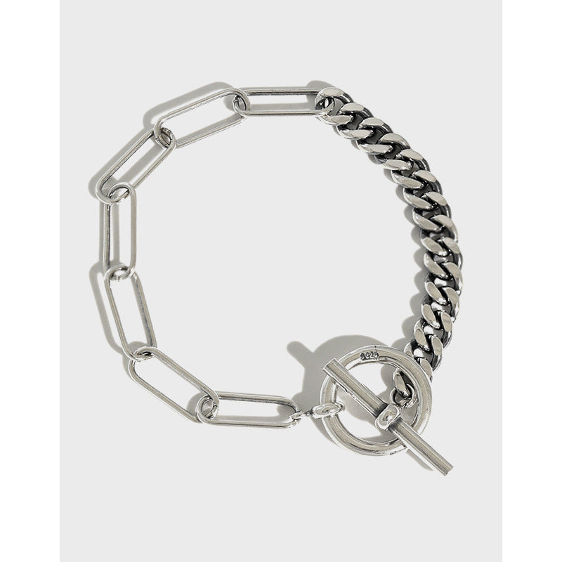 Why So Serious -  925 S Sterling Silver Chain Toggle Bracelet