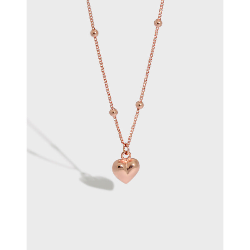 Rose Gold Heart - 18 K Gold Plated Sterling Silver Rose Gold Heart Necklace