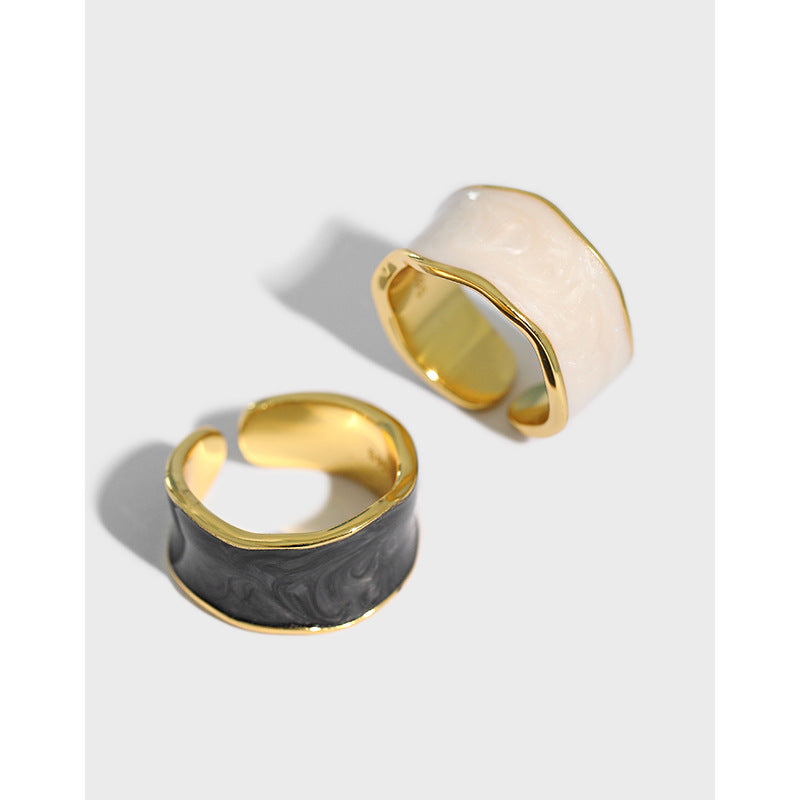 Chaos - 18 K Gold Plated Sterling Silver Resin Ring