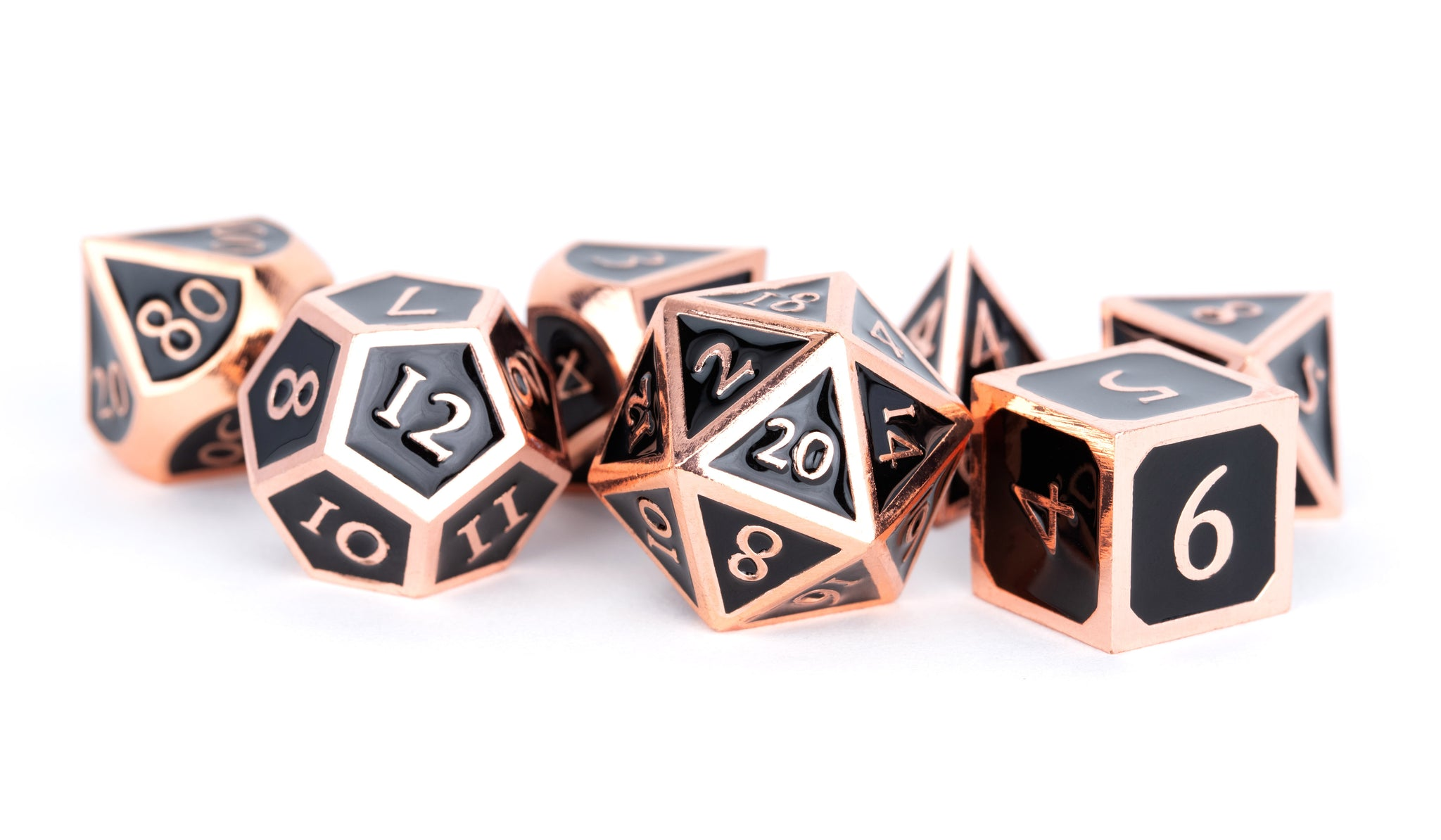 Metal Enamel Dice: Antique Copper with Black Enamel