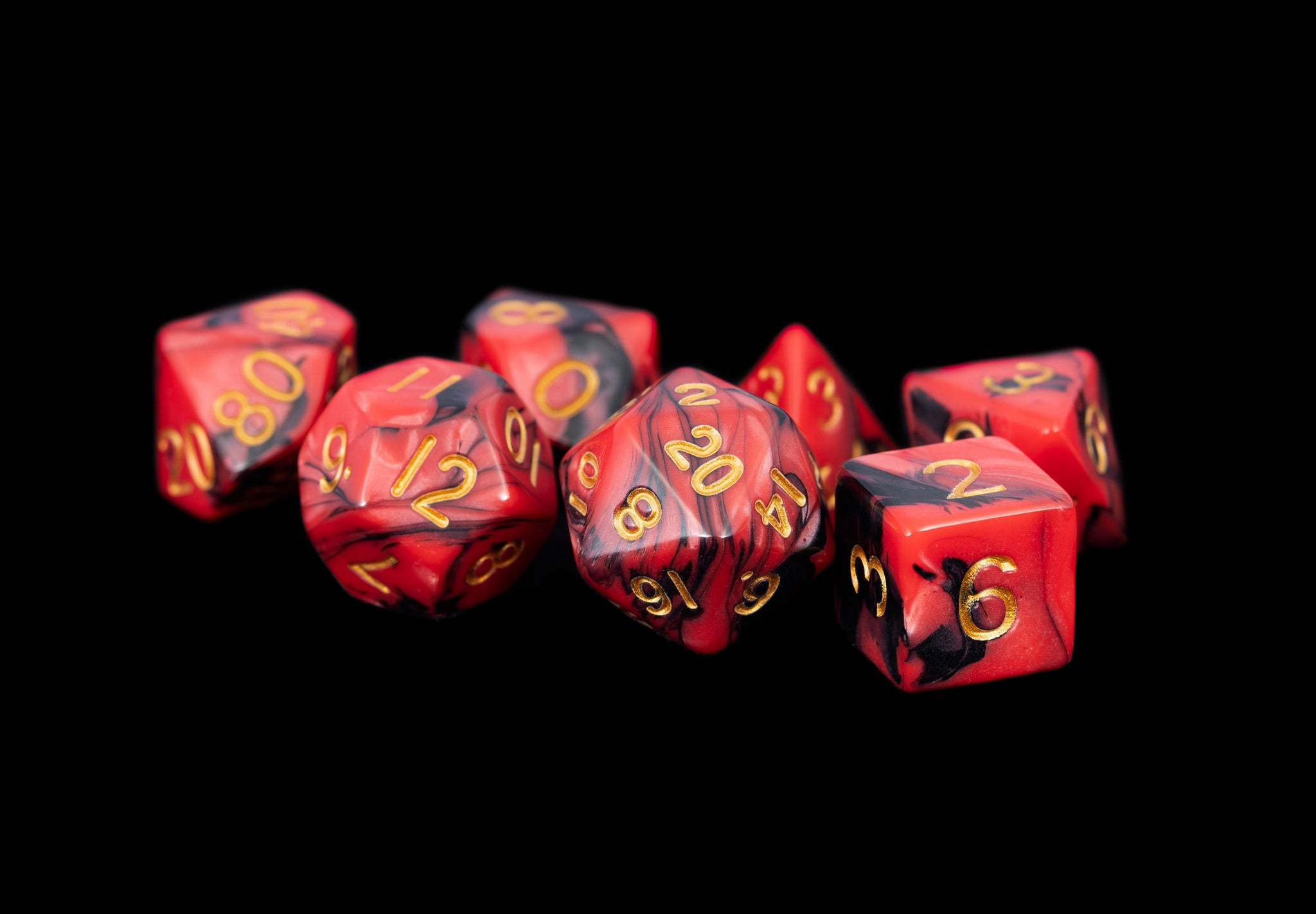 Mini Polyhedral Dice Set: Red/Black with Gold Numbers