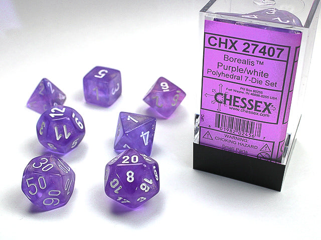 Borealis Purple w/white Signature Polyhedral 7-Die Set
