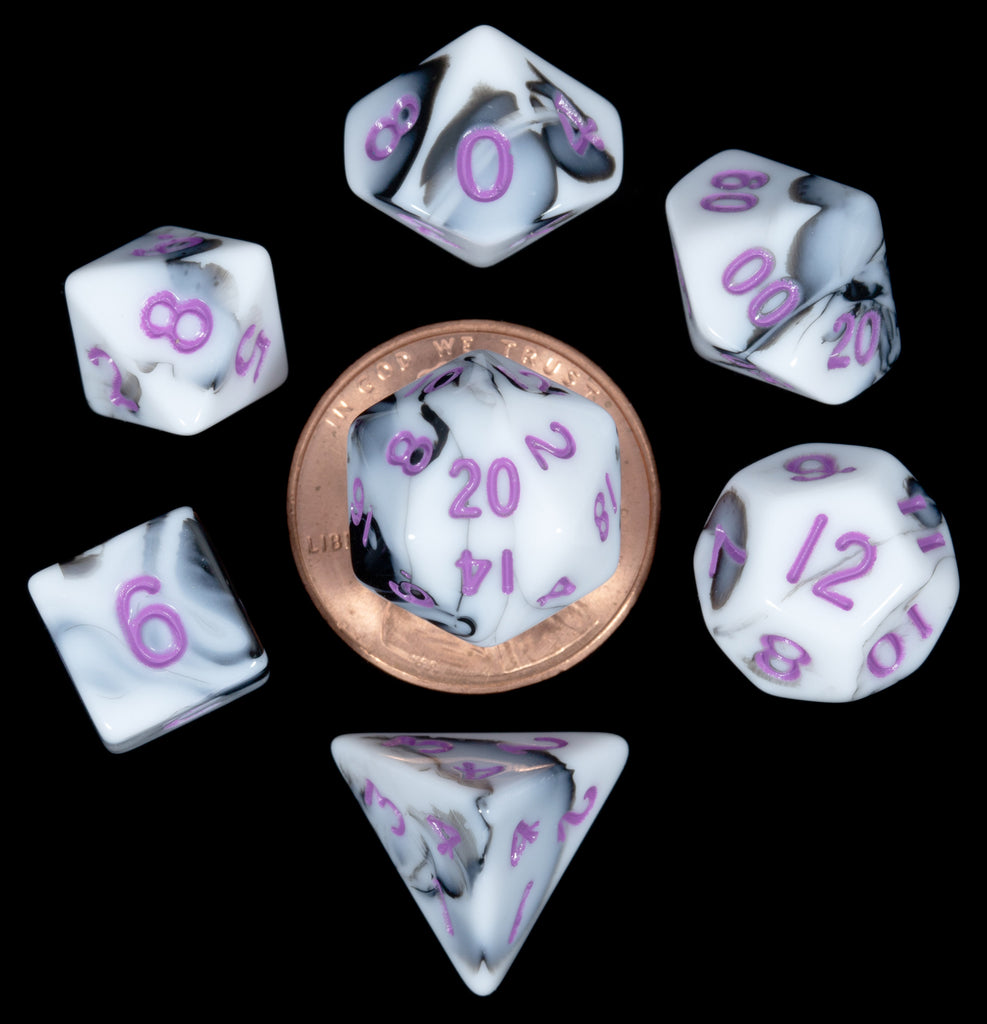 Mini Polyhedral Dice Set: Marble with Purple Numbers