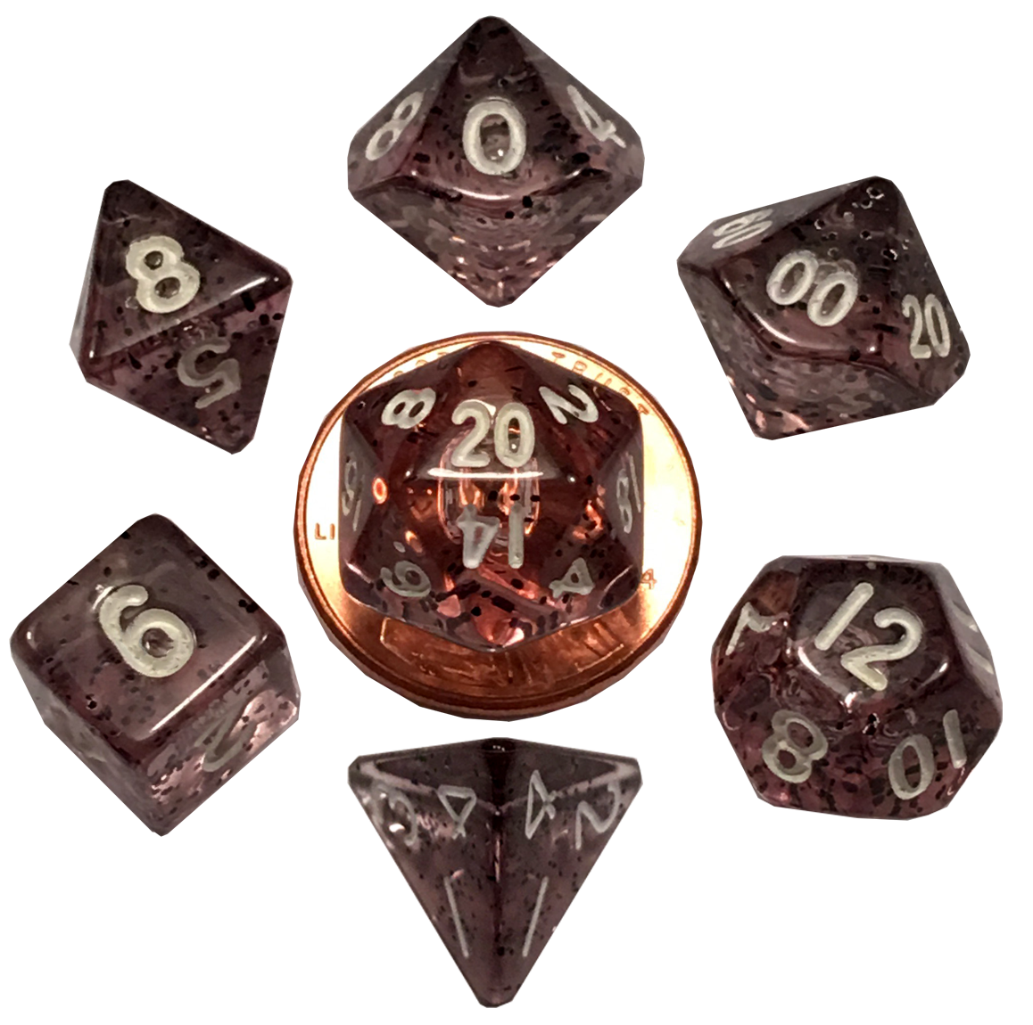 Mini Polyhedral Dice Set: Ethereal Black