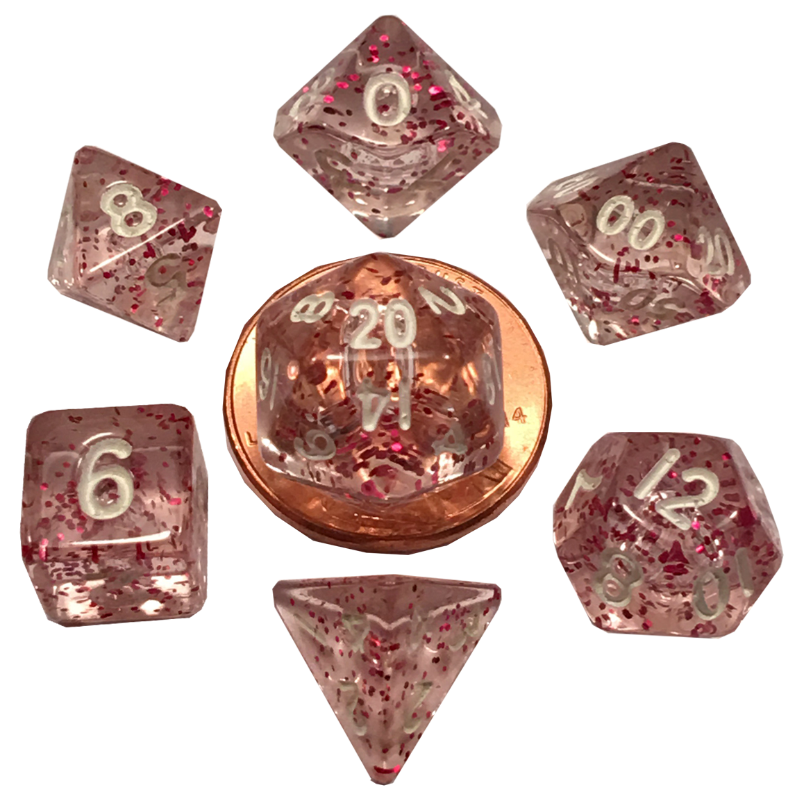 Mini Polyhedral Dice Set: Ethereal Light Purple