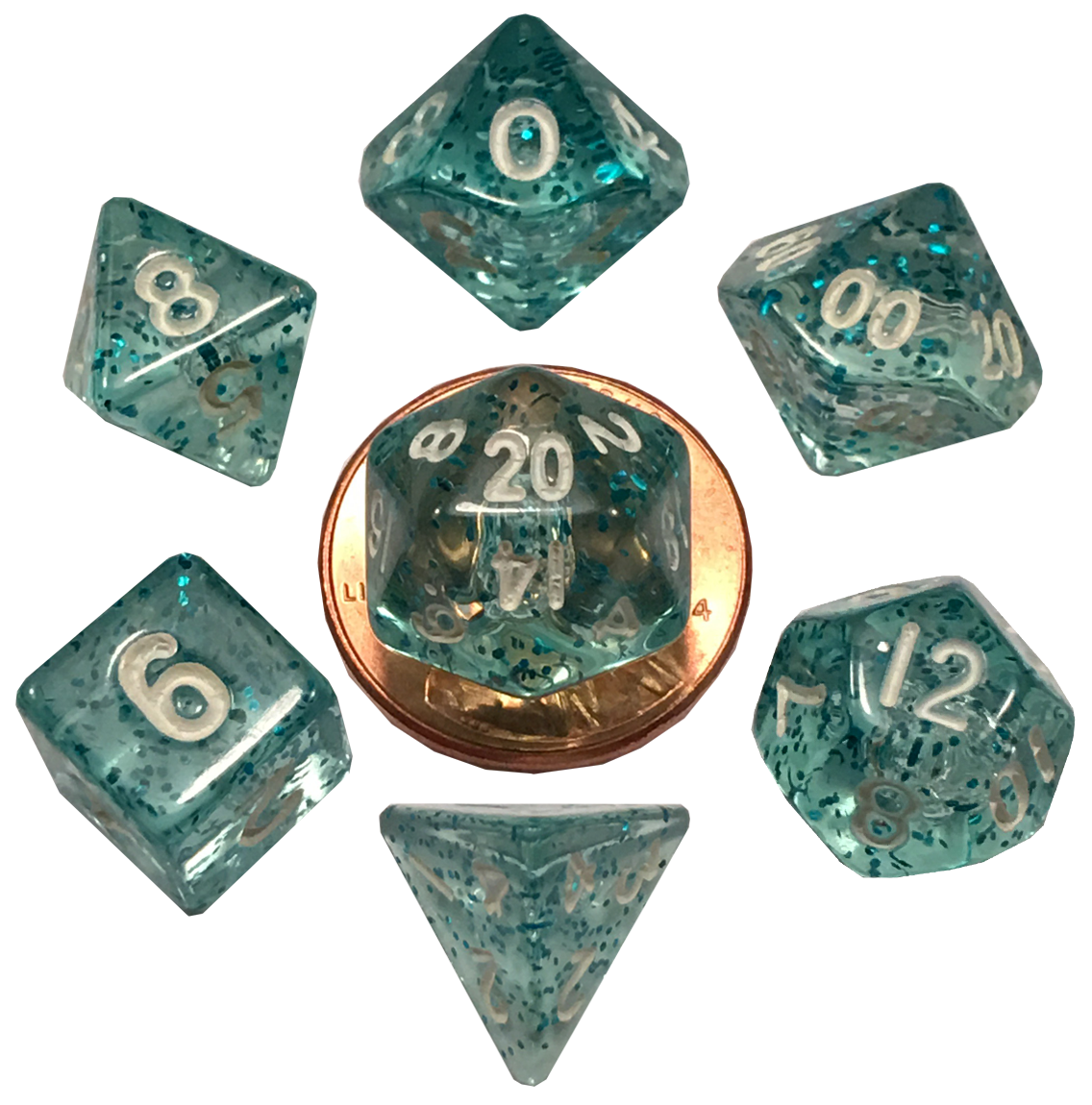 Mini Polyhedral Dice Set: Ethereal Light Blue