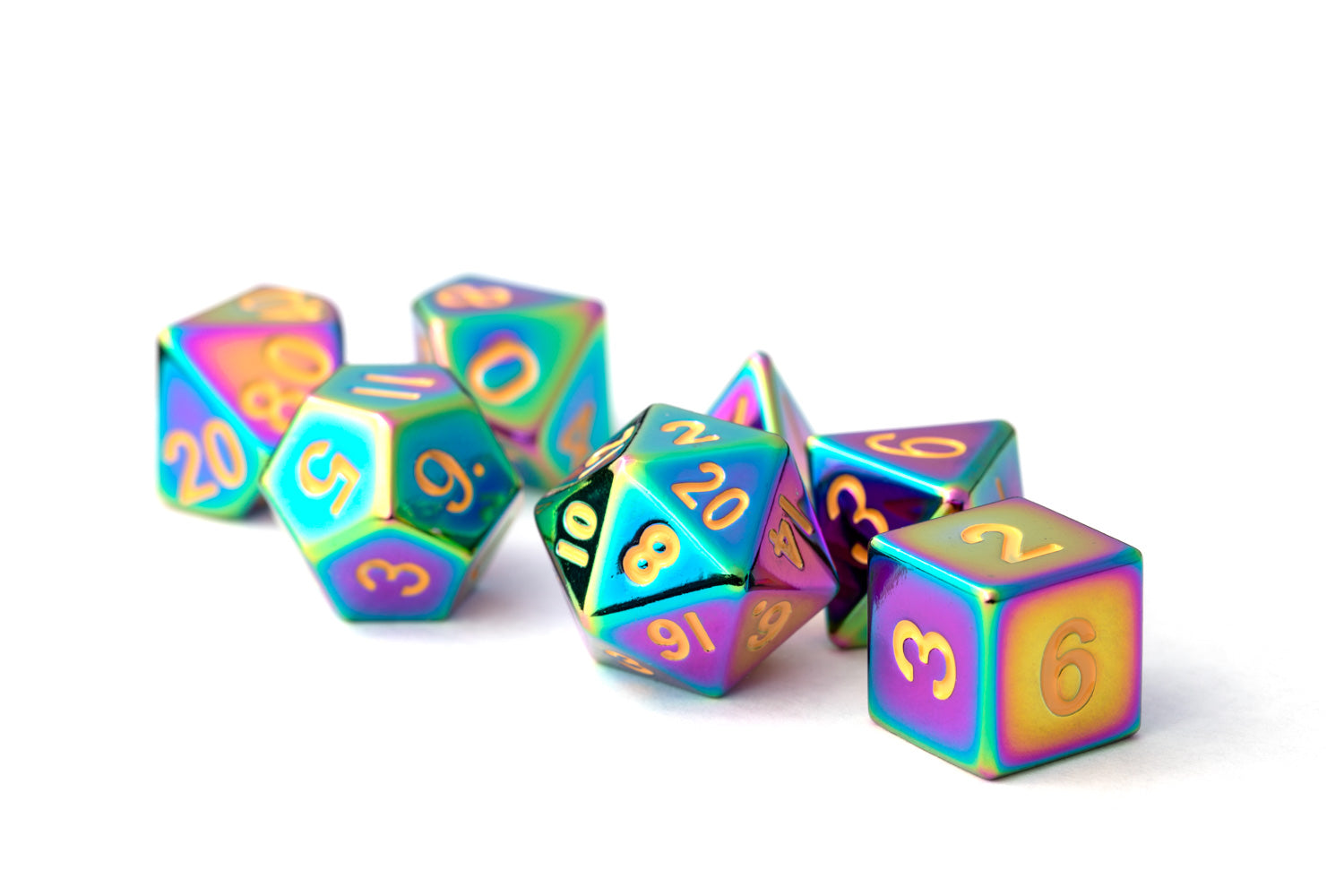 Metal Dice: Touched Rainbow 16mm Polyhedral Set