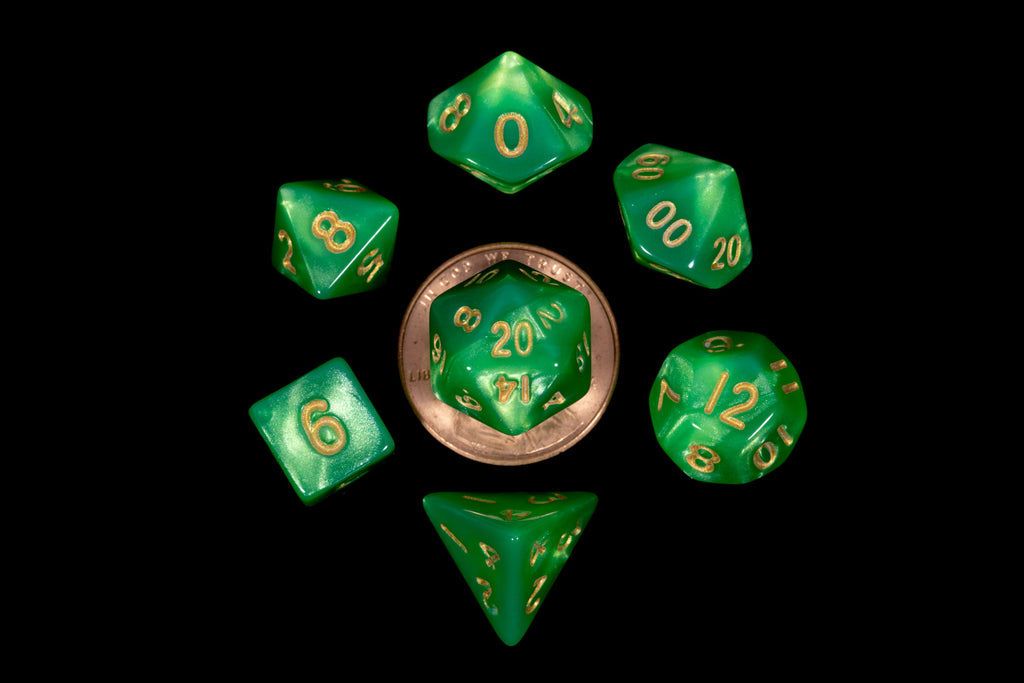 Mini Polyhedral Dice Set: Acrylic Green/Light Green with Gold Numbers