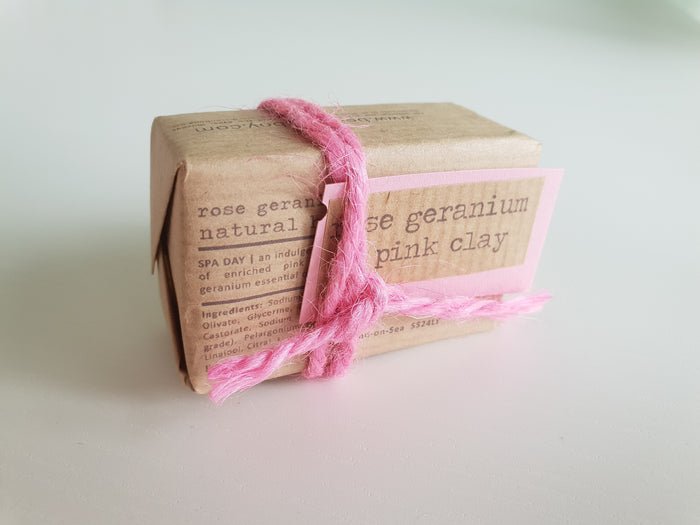 Vegan Soap Rose Geranium & Pink Clay - Bean & Boy - 40g