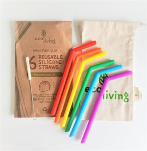 Reusable Rainbow Silicone Smoothie Straws