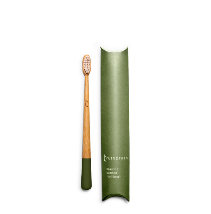 Bamboo Toothbrush - Moss Green with Medium Plant Based Bristles - Truthbrush