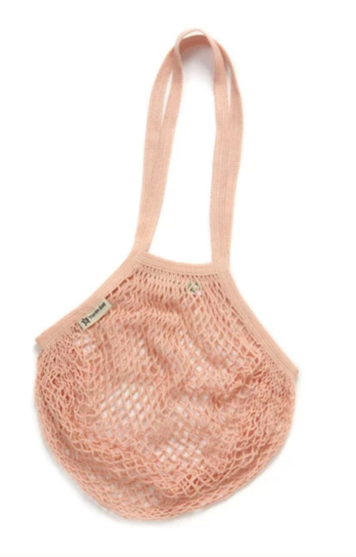 Organic Cotton Reusable Turtle Bag - Blush - Long Handle