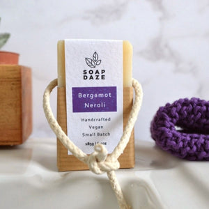 Bergamot & Neroli soap on a rope soap daze