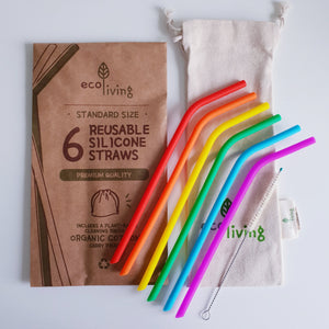 reusable rainbow silicone straw set standard size