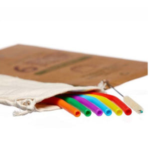 reusable rainbow silicone standard size straw set