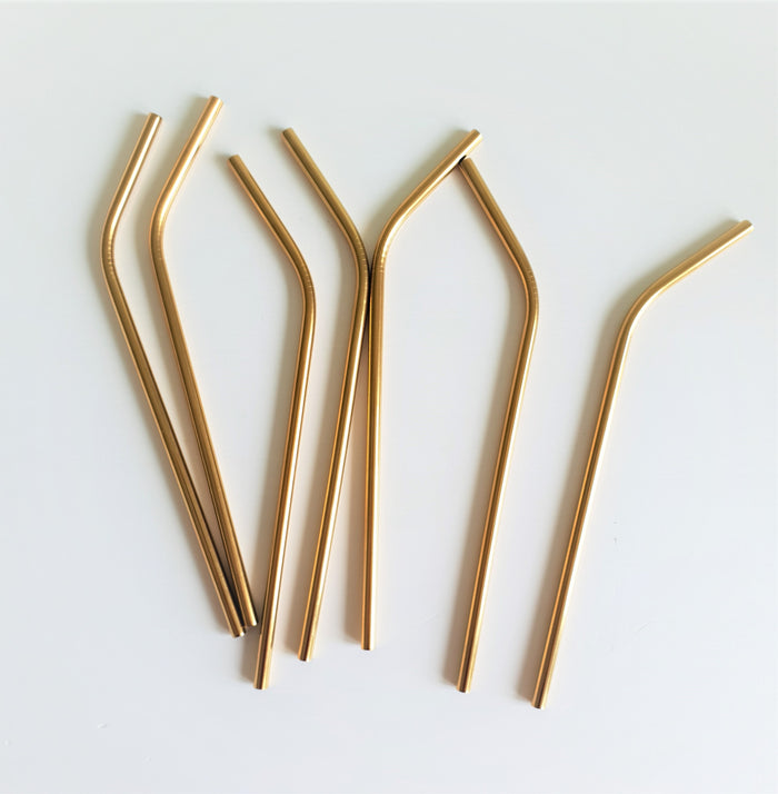 Gold Stainless Steel Drinking Straw x 1