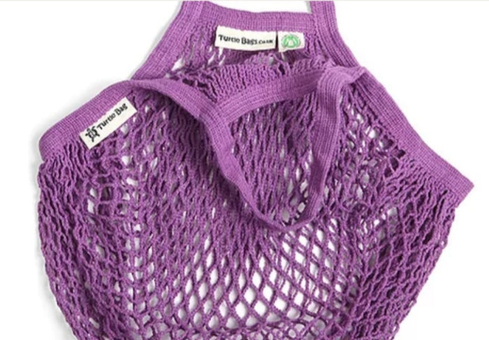 Organic Cotton Reusable Turtle Bag - Purple - Short Handle
