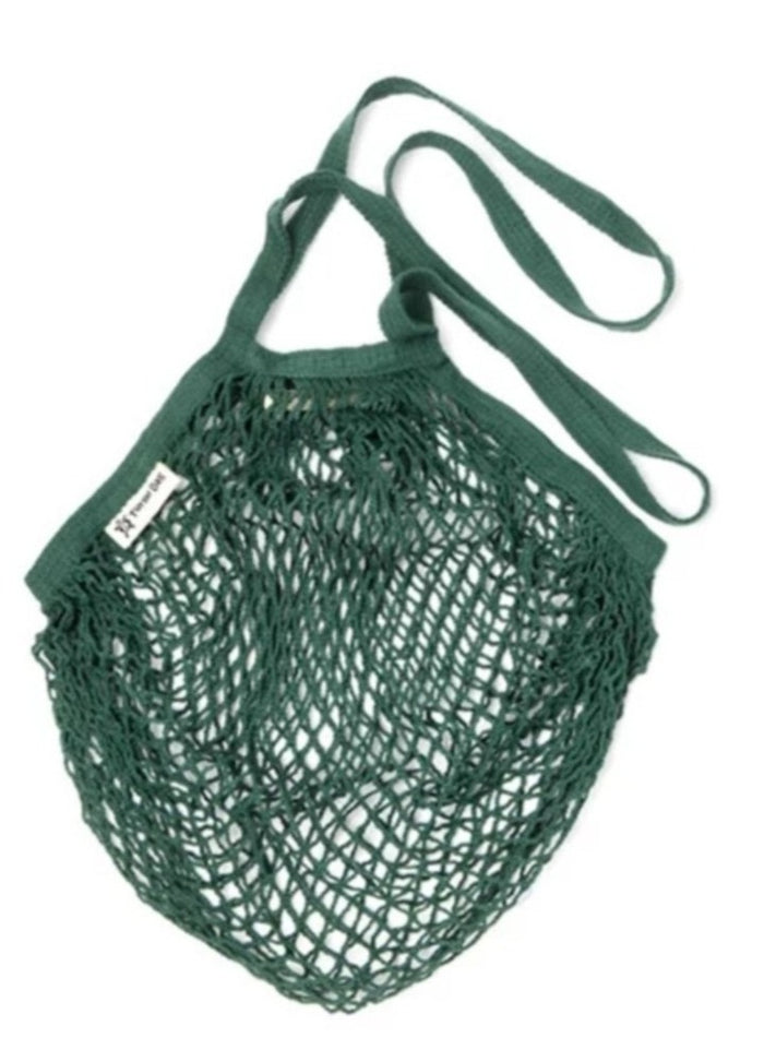 Organic Cotton Reusable Turtle Bag - Bottle Green - Long Handle