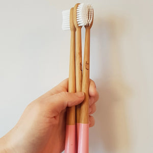 Pink Zero Packaging Bamboo Toothbrush