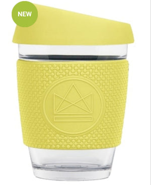 glass coffee cup yellow neon kactus