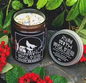 Snow Berries soy wax candle run with wolves