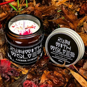 Amber Forest Soy Wax Candle Run with Wolves