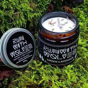 Green Lavender Soy Wax Candle Run with Wolves