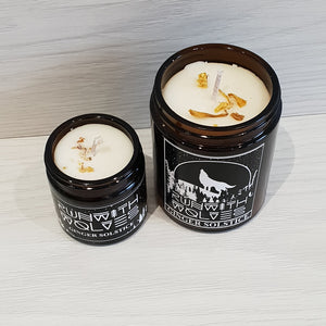 Ginger Solstice soy wax candle run with wolves
