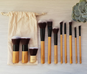 flawless complete bamboo makeup brush set flawless