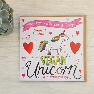Happy Valentines Day Vegan Unicorn Card