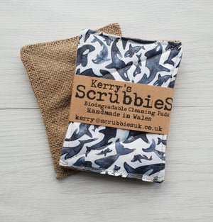 scrubbies washing up pads x2 pack killer whales