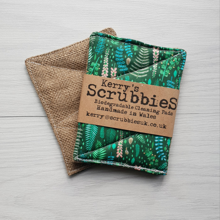 Scrubbies Washing Up Pads x2 Pack - Leaves