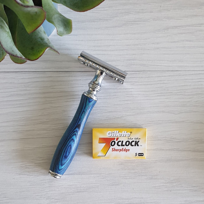 Blue Wooden Safety Razor