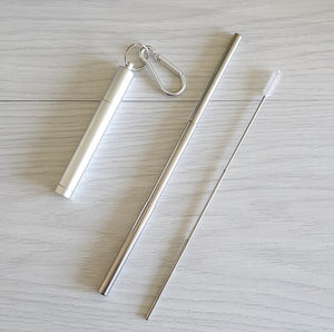 Collapsible metal straw and cleaner and case
