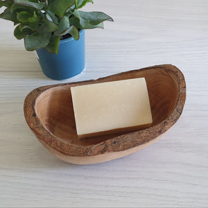 Large wooden olive soap dish