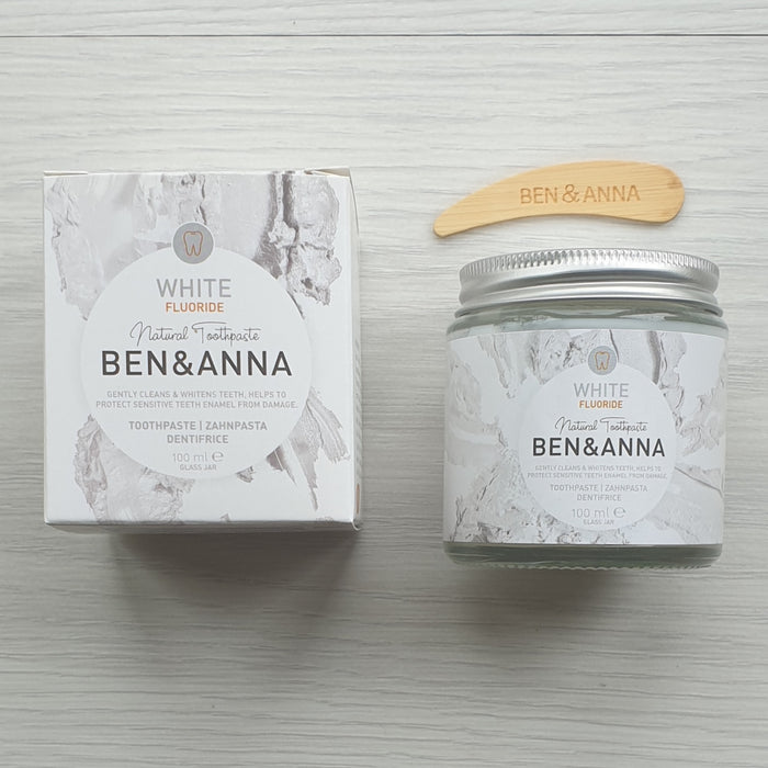 Natural Toothpaste White (With Fluoride) - Ben & Anna - 100ml